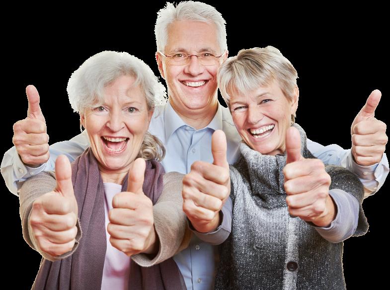three elder people doing thumbs up